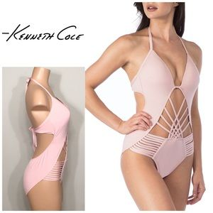 Kenneth Cole push-up one piece swimsuit blush.NWT